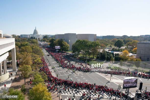 Fans gather as the Washington Nationals hold a parade to celebrate their World Series victory over the Houston Astros on November 2 2019 in...