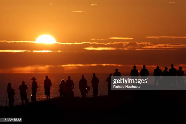 Fans gather at sunrise prior to the start of Friday Morning Foursome Matches of the 43rd Ryder Cup at Whistling Straits on September 24, 2021 in...