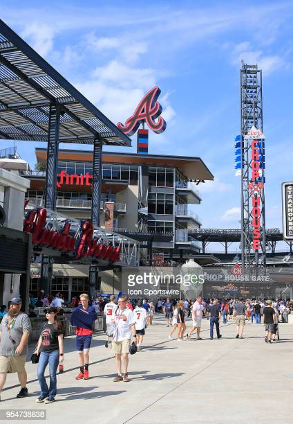 Fans gather at The Battery prior the MLB game between the Atlanta Braves and the San Francisco Giants on Star Wars Night May 4 at SunTrust Park in...