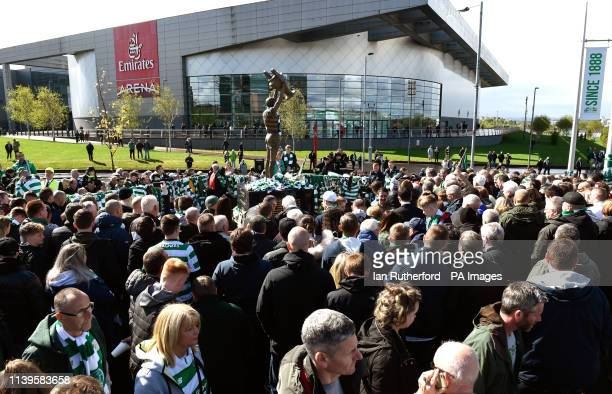 Fans gather at the Billy McNeill statue before the Ladbrokes Scottish Premiership match at Celtic Park Glasgow