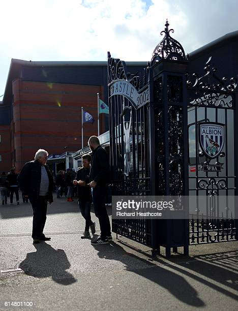 Fans gather by the Jeff Astle gates prior to the Premier League match between West Bromwich Albion and Tottenham Hotspur at The Hawthorns on October...