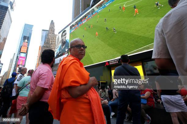 Fans gather for a public viewing event at Times Square to watch 2018 FIFA World Cup Russia Semi Final match between France and Belgium on July 10...