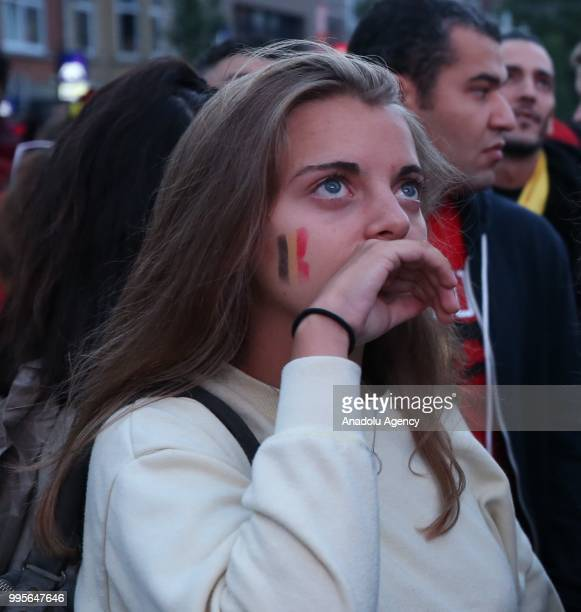 Fans gather for a public viewing event to watch 2018 FIFA World Cup Russia Semi Final match between France and Belgium on July 10 2018 in Brussels...