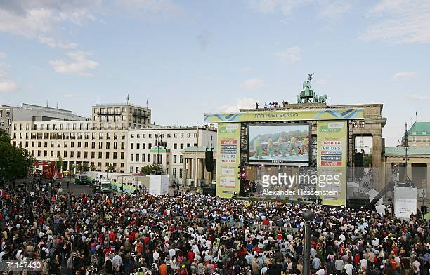 Fans gather for the FIFA World Cup 2006 Opening Festival, at the Brandenburg Gate on June 7, 2006 in Berlin, Germany.