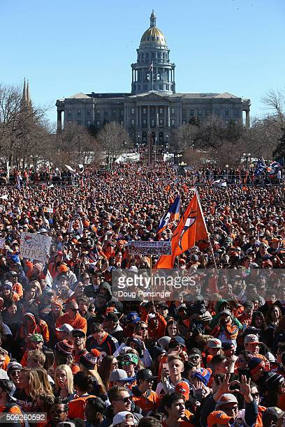 Fans gather in Civic Center Park in front of the Colorado State Capitol to celebrate the Super Bowl 50 Champion Denver Broncos at a rally on the...