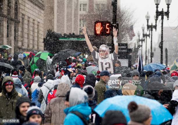 Fans gather in Copley Square before the start of a New England Patriots victory parade on February 7 2017 in Boston Massachusetts The Patriots...