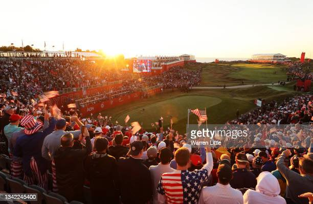 Fans gather in the first tee grandstands prior to the start of Friday Morning Foursome Matches of the 43rd Ryder Cup at Whistling Straits on...