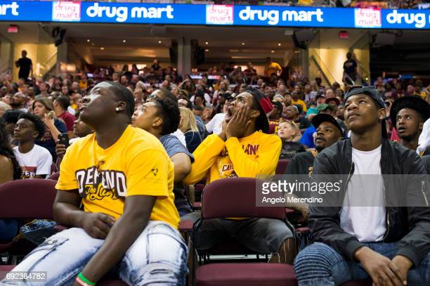 Fans gather inside The Quicken Loans Arena for an NBA Finals Game Two watch party between the Cleveland Cavaliers and the Golden State Warriors on...