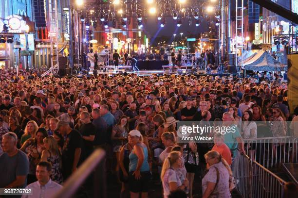 Fans gather outside 2018 CMT Music Awards at Bridgestone Arena on June 6 2018 in Nashville Tennessee