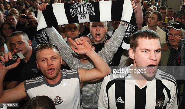 Fans gather outside after Alan Shearer gave a press conference on his first day as Newcastle United Manager on April 2 2009 in Newcastle upon Tyne...