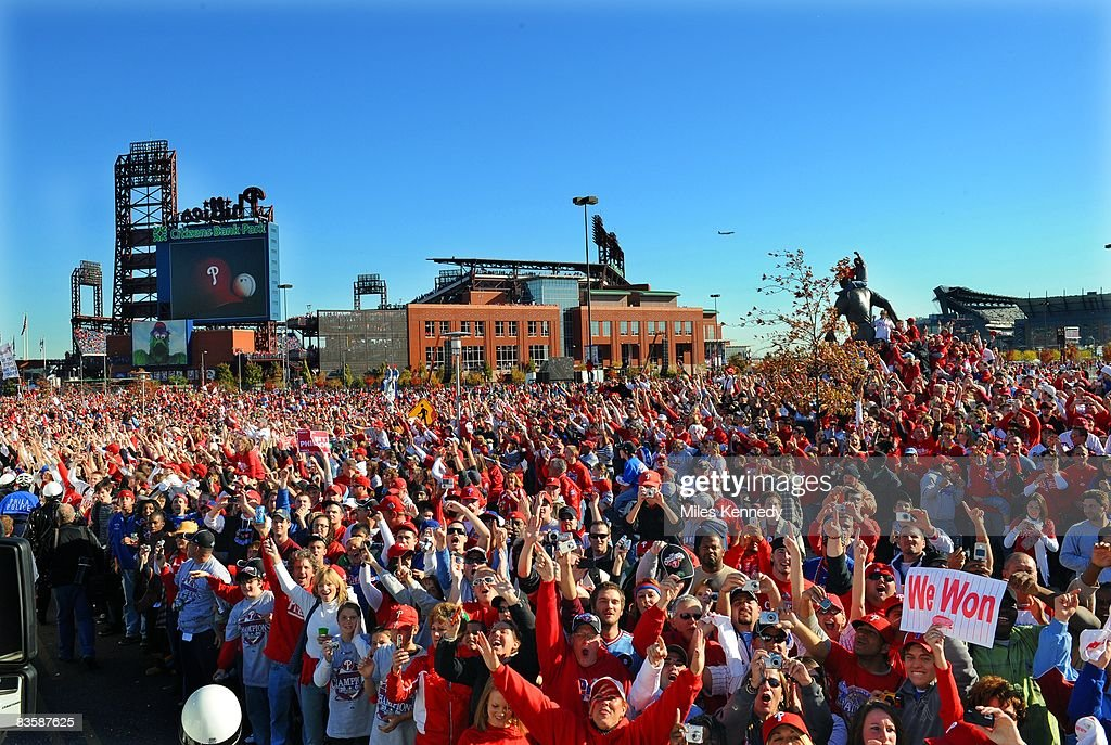 Fans gather outside of Citizens Bank Park in Philadelphia to celebrate the 2008 Philadelphia Phillies World Series Championship on Friday, October 31, 2008. The Phillies defeated the Rays 4-1 to win the 2008 World Series.