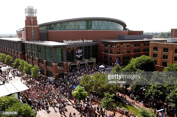 Fans gather outside of Nationwide Arena prior to first round of the 2007 NHL Entry Draft on June 22 2007 in Columbus Ohio