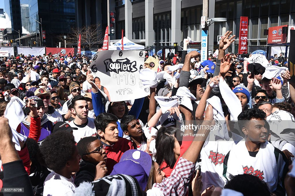 Fans gather outside of the Air Canada Centra before the game between the Toronto Raptors and the Indiana Pacers in Game One of the Eastern Conference Quarterfinals during the 2016 NBA Playoffs on April 16 at the Air Canada Centre in Toronto, Ontario, Canada.