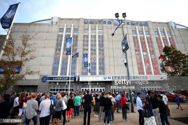 Fans gather outside of the arena on day one of the 2018 Laver Cup at the United Center on September 21 2018 in Chicago Illinois