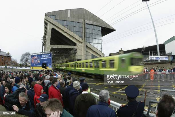 Fans gather outside the ground prior to the RBS Six Nations Championship match between Ireland and France held on March 8, 2003 at Lansdowne Road, in...