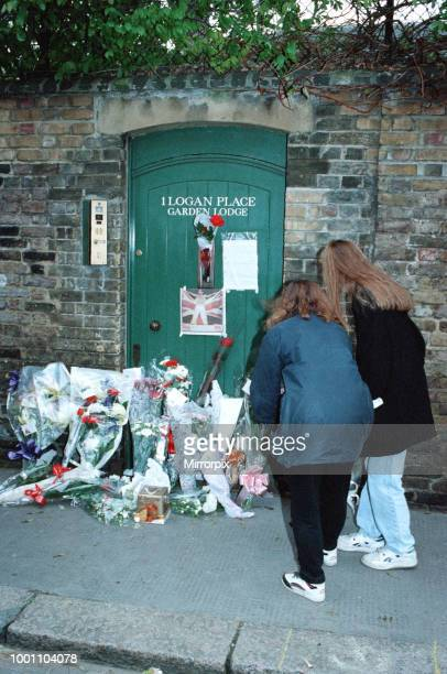 Fans gather outside the Kensington, West London, home of singer Freddie Mercury who died 24th November 1991. Freddie Mercury was a singer, songwriter...