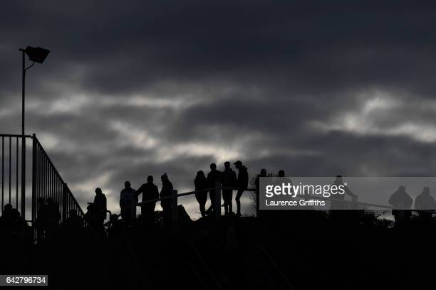Fans gather outside the Stadium prior to the the Emirates FA Cup Fifth Round match between Huddersfield Town and Manchester City at John Smith's...