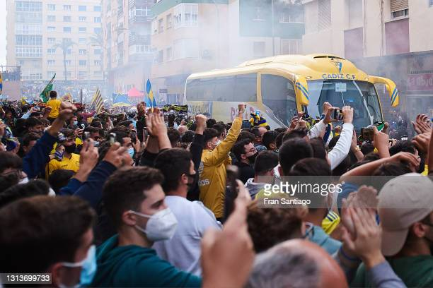 Fans gather outside the stadium to protest against the European Super League prior to the La Liga Santander match between Cadiz CF and Real Madrid at...
