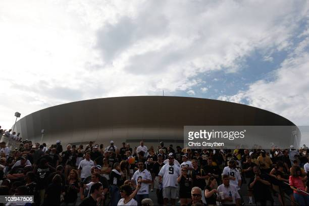 Fans gather outside the Superdome prior to the New Orleans Saints playing against the Minnesota Vikings at Louisiana Superdome on September 9 2010 in...