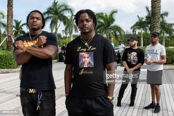 Fans gather outside the XXXTentacion Funeral Fan Memorialat BBT Center on June 27 2018 in Sunrise Florida