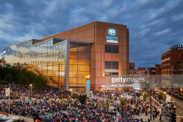 June 08: Fans gather outside to watch the game on a giant screen during the NHL Stanley Cup Finals Game 5 at PPG Paints Arena on June 8, 2017.