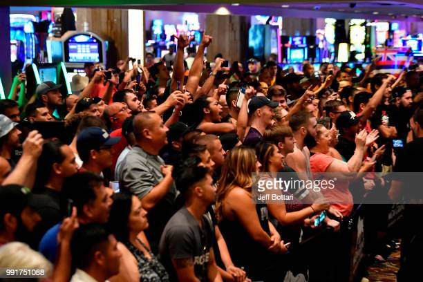 Fans gather to attend the UFC 226 and The Ultimate Fighter Finale Open Workouts at MGM Grand Hotel & Casino on July 4, 2018 in Las Vegas, Nevada.