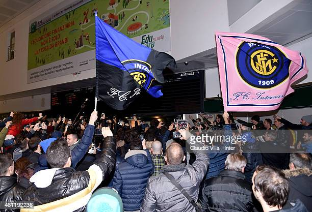 Fans gather to greet Xherdan Shaqiri who is set to join FC Internazionale Milano arrives at Malpensa Airport on January 8 2015 in Milan Italy