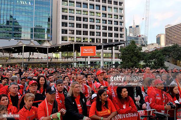 Liverpool FC In Brisbane. Fans gather to show their support during the  launch of the new away playing kit at 925b937cc