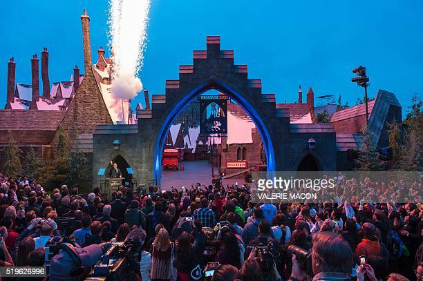 Fans get ready to enter Hogsmeade at the Grand Opening of the Wizarding World of Harry Potter to the public at Universal Studios Hollywood in...