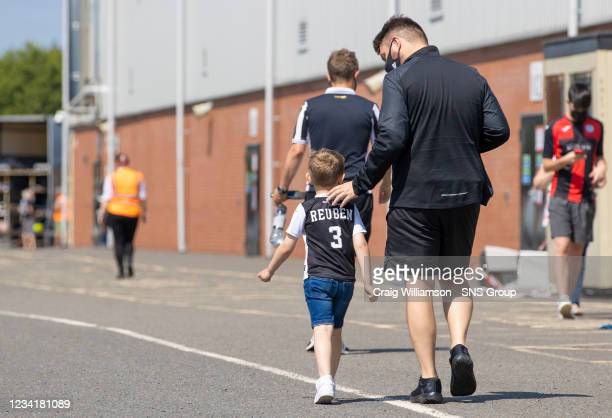 Fans get ready to enter the stadium during a Premier Sports Cup tie between St Mirren and Partick Thistle at the SMISA Stadium on July 25 in Paisley,...