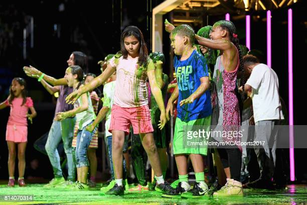 Fans get slimed onstage during Nickelodeon Kids' Choice Sports Awards 2017 at Pauley Pavilion on July 13 2017 in Los Angeles California