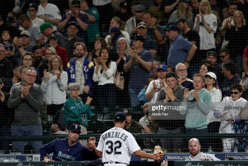 Fans give Marco Gonzales #32 of the Seattle Mariners a standing ovation while exiting the game after giving up just one run in seven innings against the Tampa Bay Rays during their game at Safeco Field on June 2, 2018 in Seattle, Washington.