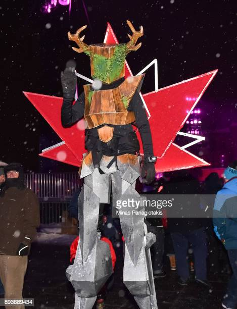 Fans go all out during the 2017 Scotiabank NHL100 Classic Ottawa Senators Alumni Game on Parliament Hill on December 15 2017 in Ottawa Canada