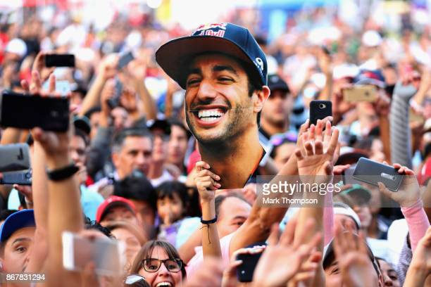 Fans go crazy at the Red Bull Racing fanzone appearance during qualifying for the Formula One Grand Prix of Mexico at Autodromo Hermanos Rodriguez on...