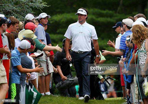 Fans greet Bubba Watson during the third round of the Travelers Championship at TPC River Highlands on June 27 2015 in Cromwell Connecticut