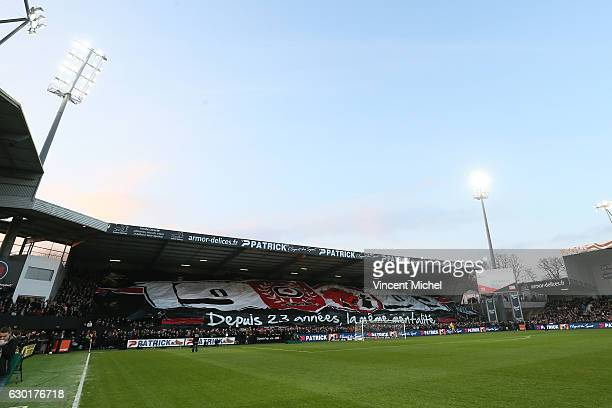 Fans Guingamp during the French Ligue 1 match between Guingamp and Paris Saint Germain at Stade du Roudourou on December 17 2016 in Guingamp France