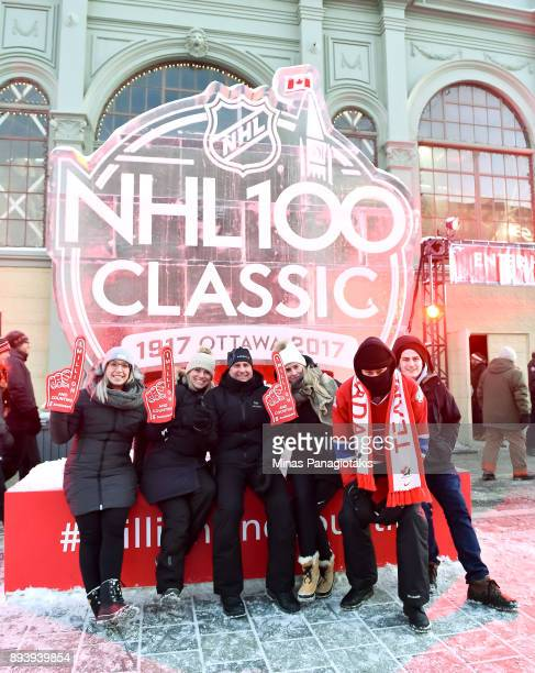 Fans hang out in the Centennial Fan Arena in advance of the 2017 Scotiabank NHL100 Classic at Lansdowne Park on December 16 2017 in Ottawa Canada