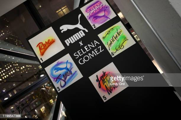 Fans have PUMA products customized with airbrushing during the Meet Greet with Selena Gomez at PUMA Flagship on January 14 2020 in New York City