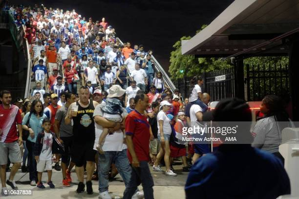 Fans head home after the 2017 CONCACAF Gold Cup Group A match between Honduras and Costa Rica at Red Bull Arena on July 7 2017 in Harrison New Jersey