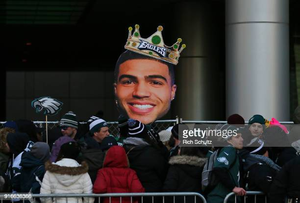 Fans hold a cut out head of Mychal Kendricks of the Philadelphia Eagles during their Super Bowl Victory Parade on February 8 2018 in Philadelphia...