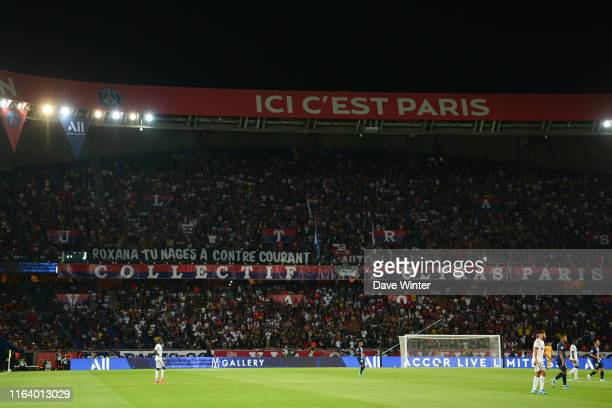 PSG fans hold up a banner aimed at French sports minister Roxana Maracineanu a former Olympic swimmer during the Ligue 1 match between Paris Saint...