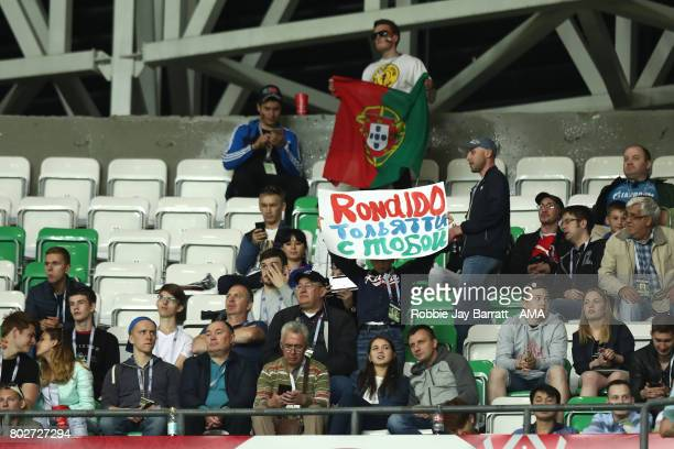 A fans hold up a banner for Cristiano Ronaldo of Portugal during the FIFA Confederations Cup Russia 2017 SemiFinal match between Portugal and Chile...
