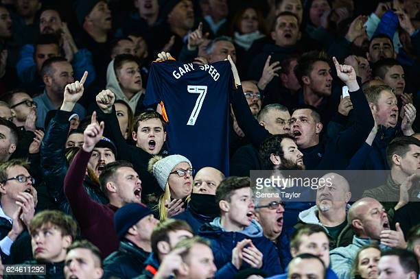 Fans hold up a tshirt remembering Gary Speed during the Sky Bet Championship Match between Leeds United and Newcastle United at Elland Road on...