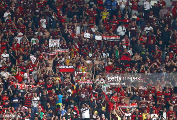 Fans hold up scarfs prior to the Bundesliga match between 1 FC Union Berlin and TSG 1899 Hoffenheim at Stadion An der Alten Foersterei on December 17...