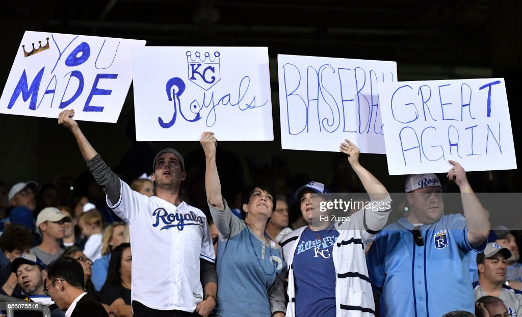 Fans hold up signs as as they thank the Kansas City Royals during a game against the Arizona Diamondbacks in the seventh inning at Kauffman Stadium on September 30, 2017 in Kansas City, Missouri.