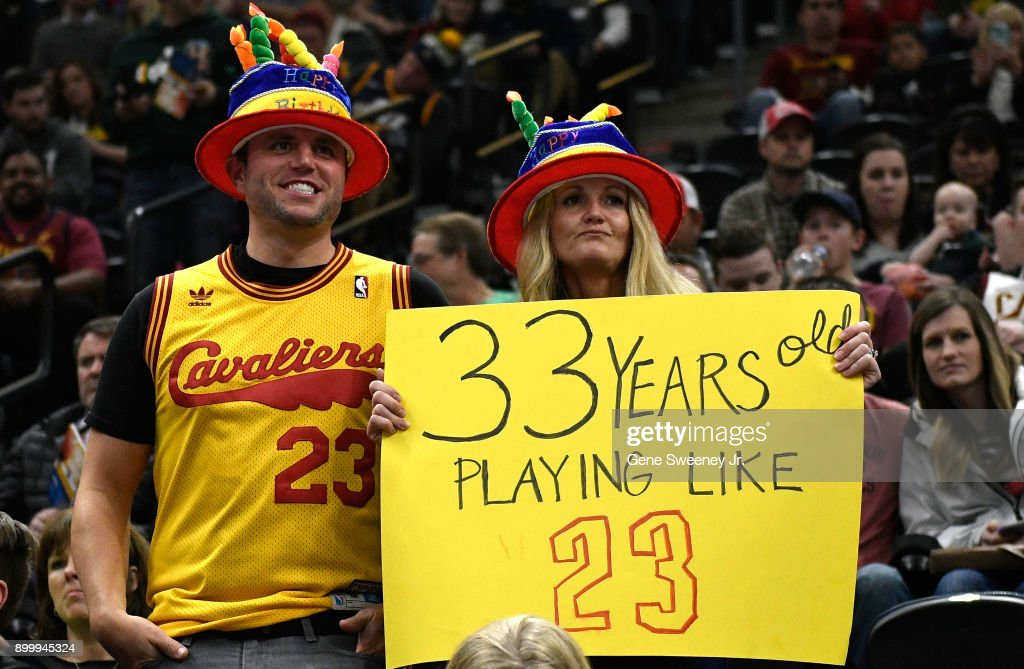 Fans holding a sign celebrating LeBron James #23 of the Cleveland Cavaliers birthday, prior to their game against the Utah Jazz at Vivint Smart Home Arena on December 30, 2017 in Salt Lake City, Utah.
