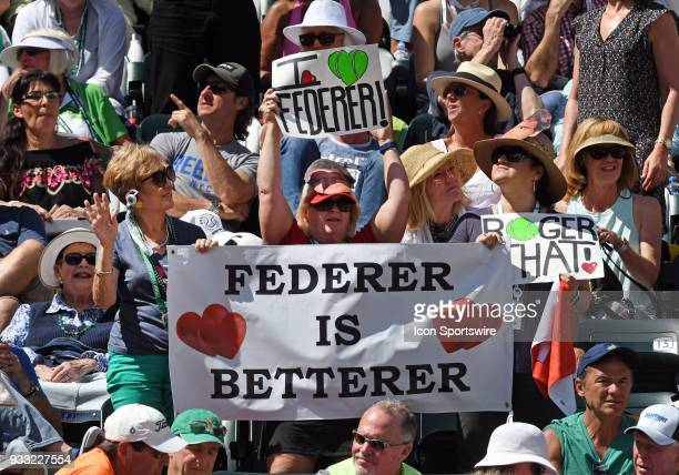 Fans holding Roger Federer signs during a semifinals match between Roger Federer and Borna Coric played during the BNP Paribas Open on March 17 2018...