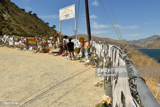 Fans honor actress Naya Rivera with a memorial at Lake Piru where Rivera's death was ruled an accidental drowning on August 3 2020 in Piru California...