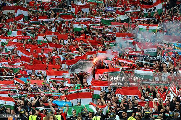 Fans Hungary during the UEFA EURO 2016 Group F match between Iceland and Hungary at Stade Velodrome on June 18 2016 in Marseille France