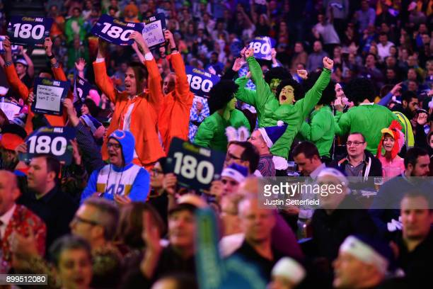 Fans in fancy dress during the 2018 William Hill PDC World Darts Championships on Day Thirteen at Alexandra Palace on December 29, 2017 in London,...